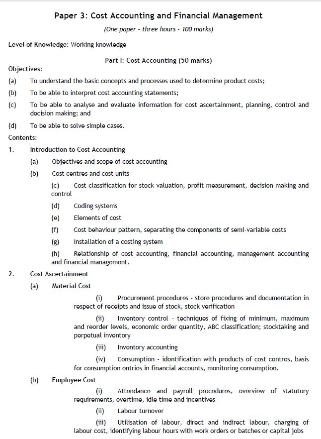 PAPER 3 - CA IPC COST ACCOUNTING FINANCIAL MANAGEMENT SYLLABUS