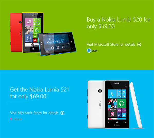 Lumia 521 for T-Mobile costs $69 and Lumia 520 for AT&T costs $59 at Microsoft Store