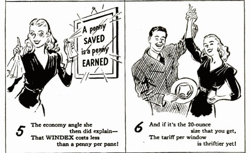 1940's advertising and humor: 1945 Windex saves labor