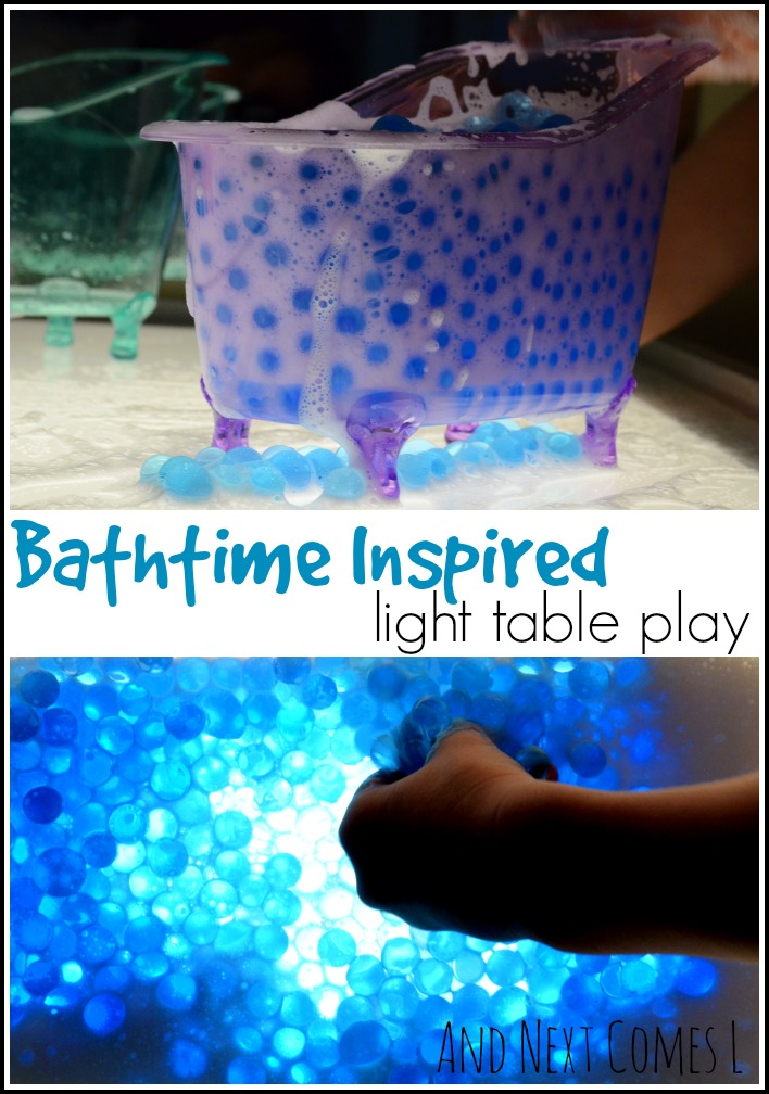 Bathtime inspired messy light table play with water beads from And Next Comes L