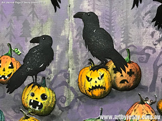 photo of artwork showing Tim Holtz Pumpkinheads and Ravens Stamps