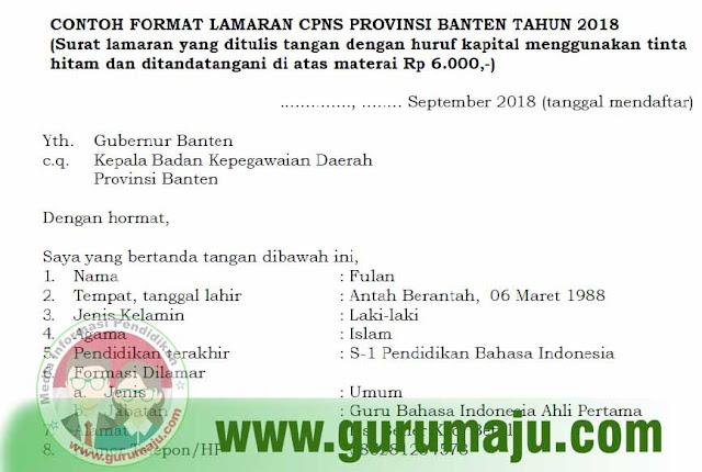 Contoh Format Surat Lamaran CPNS 2018 Provinsi Banten