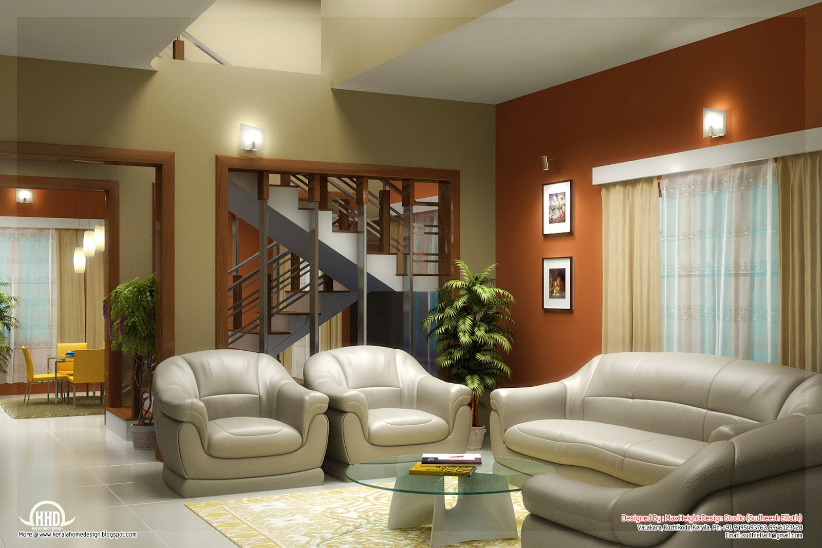 Beautiful living room rendering kerala home design and for Indian home interior living room