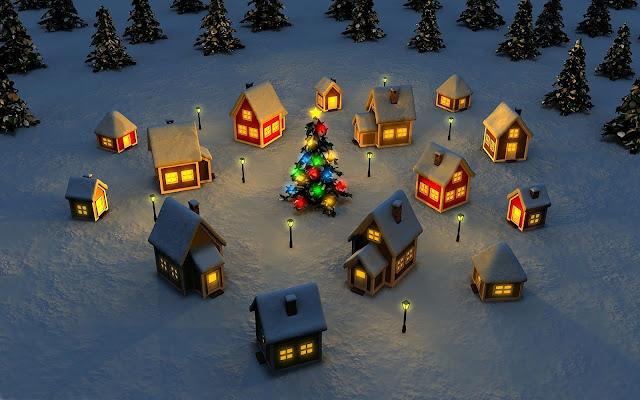 Prachtig kerstdorp met brandende lichtjes en een winter setting