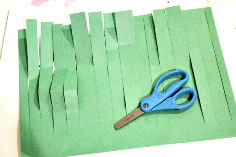 preschool scissor skills - cutting grass