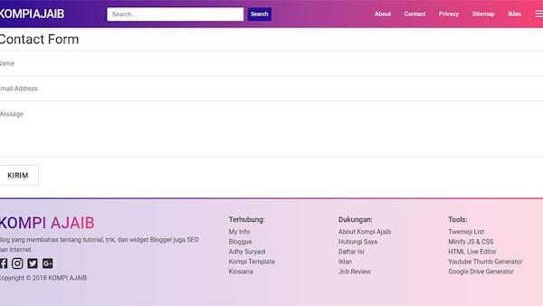 Memasang Contact Form Blogger Pada Halaman Static Blog AMP HTML
