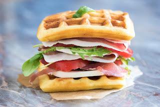 Cheddar cheese waffle sandwich