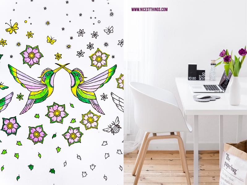 Ausmalbild Kolibris Johanna Basford, mit method geputzter Schreibtisch