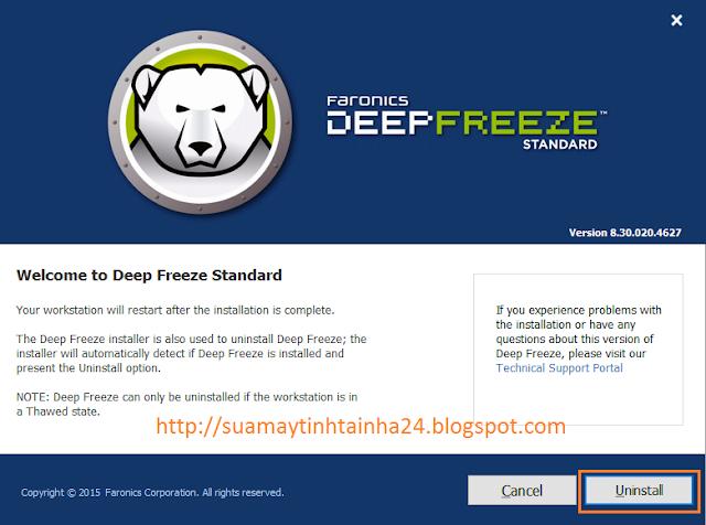 Gỡ bỏ Deep Freeze bắt đầu