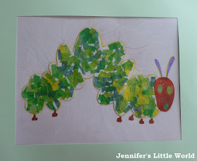 How to make a Very Hungry Caterpillar collage craft with children