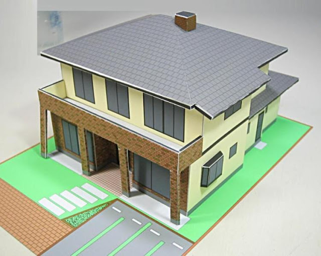 This Beautiful Paper Model Of A Contemporary Japanese House In 1/100 Scale  Is A Nice Model For Dioramas, RPG, Wargames And Train Sets, Or Just To  Decorate ...