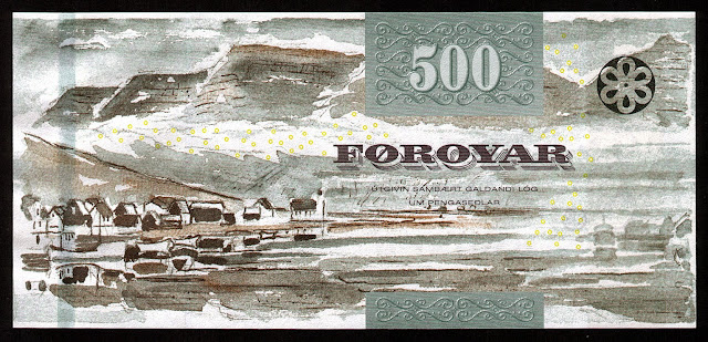 Faroese Banknotes 500 Kronur banknote 2011 village of Hvannasund