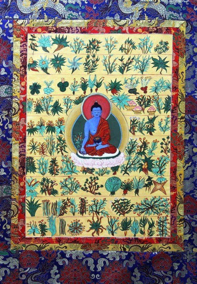 Medicine Buddha with healing herbs