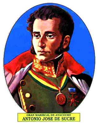 Dibujo de Antonio José de Sucre a colores
