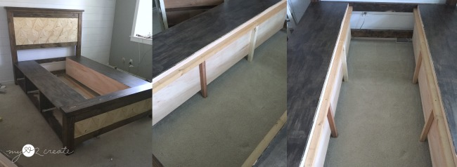 adding supports to middle of storage drawers on farmhouse bed
