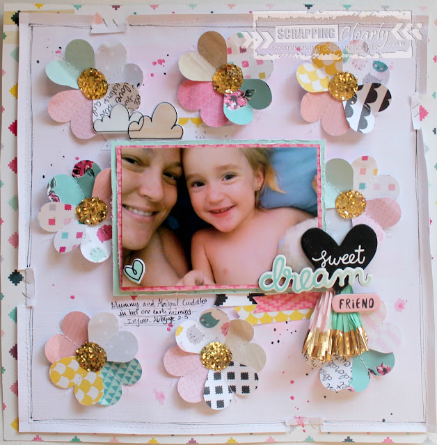 """ Sweet dreams"" layout by Bernii Miller for Scrapping Clearly using the Cute Girl collection by Crate Paper."