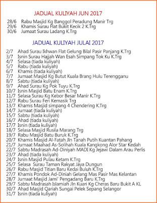 Jadual Penuh Kuliah Ustaz Azhar Idrus (UAI) Bulan Julai 2017