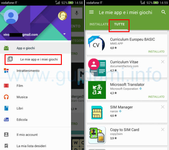 Play Store Android vedere tutte le app scaricate