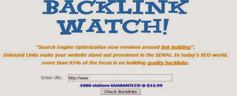 Imagem de captura da página inicial do Backlink Watch.