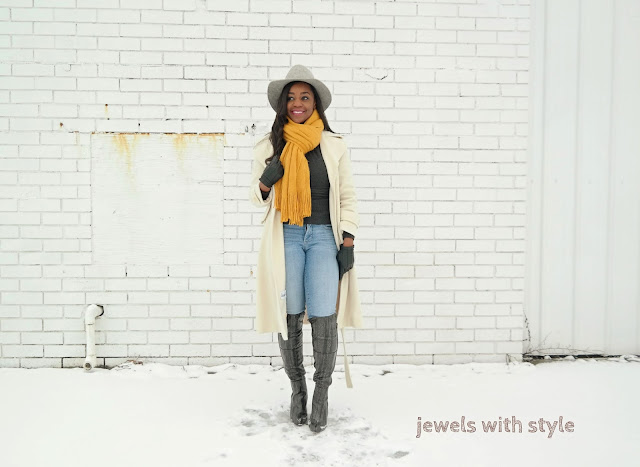 cute outfit for cold weather, how to dress cute in cold weather, cold weather outfits, jewels with style, white pea coat, white winter coat, how to wear long winter coats, oversized scarf, yellow scarf outfit, winter outfit ideas, over the knee boot outfit ideas, scarf outfit ideas, black fashion blogger, black style blogger, how to wear white in the winter, winter white, how to wear over the knee boots, gray over the knee boots, winter midi coats, columbus ohio wardrobe stylist