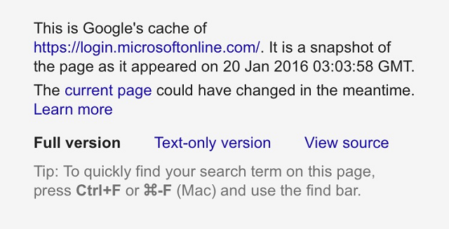 The phishing domain imitates a cached copy instead of the original Microsoft Online