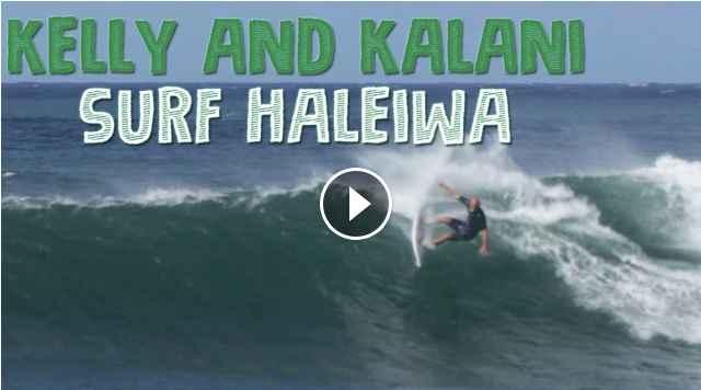 Kelly Slater and Kalani Robb surfing Haleiwa January 3 2019