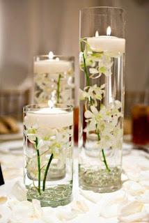 Centro de Mesa, Flores Blancas, Sumergidas