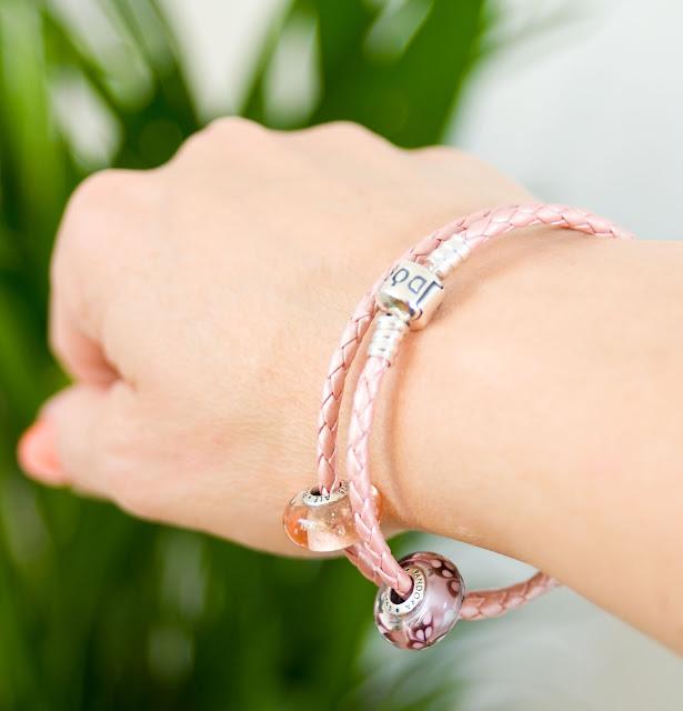 koraliki murano Pandora w kolorze różowym