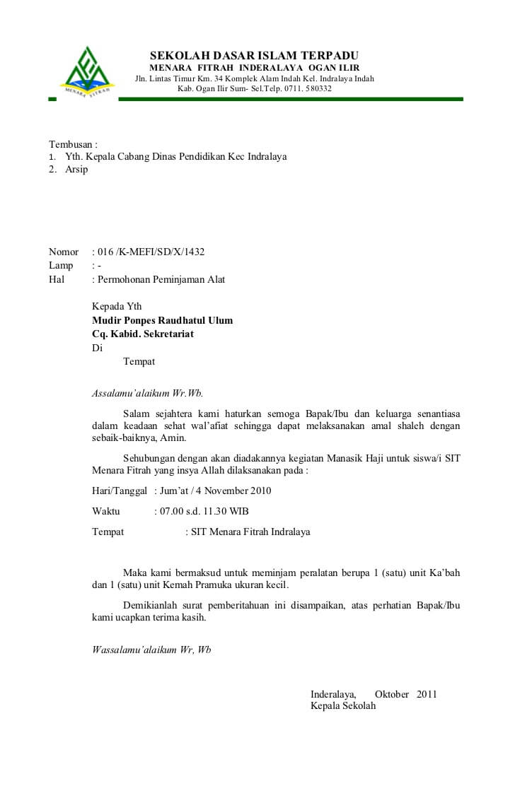 Contoh Surat Resmi Dari Ketua Osis