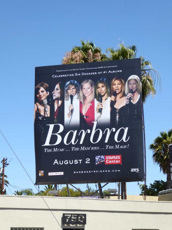 Barbra Streisand Staples Center 2016 concert billboard