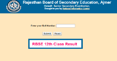 Rajasthan 12th Result 2020