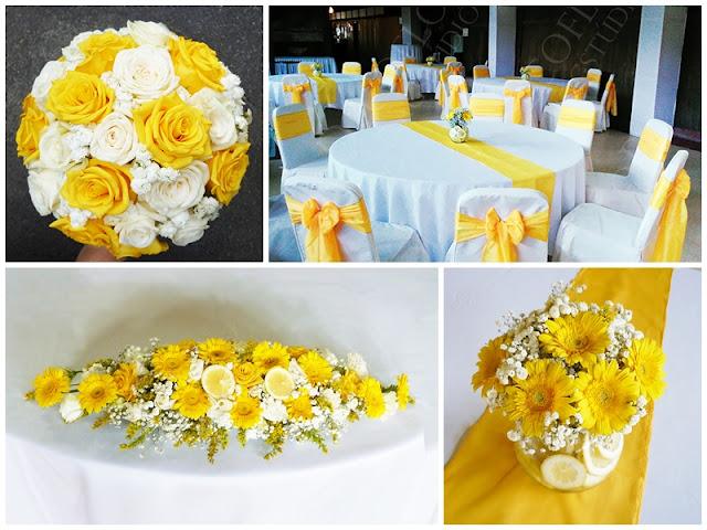 Sárga rózsa citrom asztaldísz és csokor esküvőre