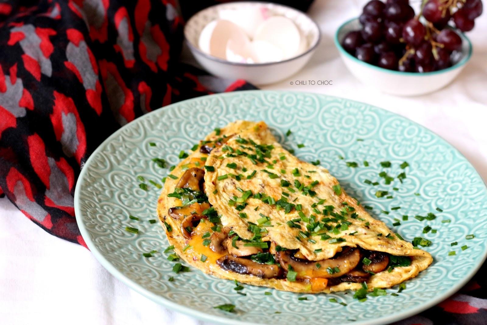 Cheesy Mushroom-Stuffed Omelet