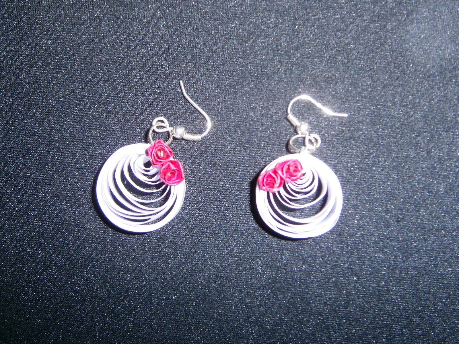 J 27 Pair Of Paper Quilled Lavender Colored Earrings Decorated With Miniature Pink Roses And Layered Varnish Coat For Strength Water Resistance
