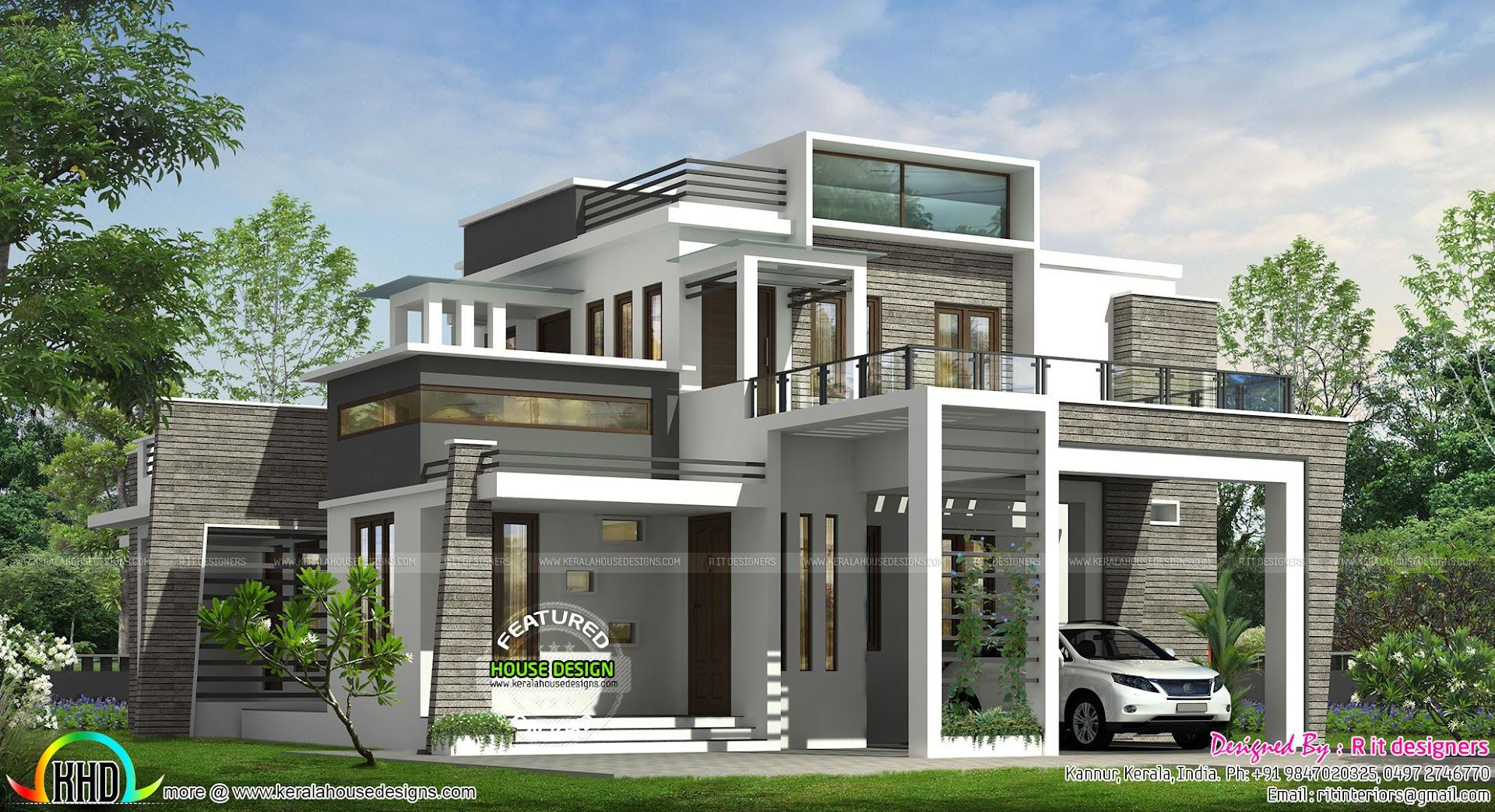 4 bhk modern box type house kerala home design and floor for Modern big house design