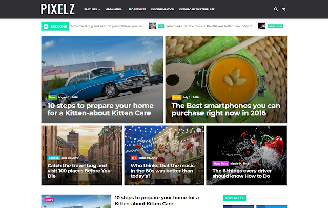 PixelZ Responsive Minimalist Magazine Tutorial Tips & Trick Life Hacks Blogger Template Theme