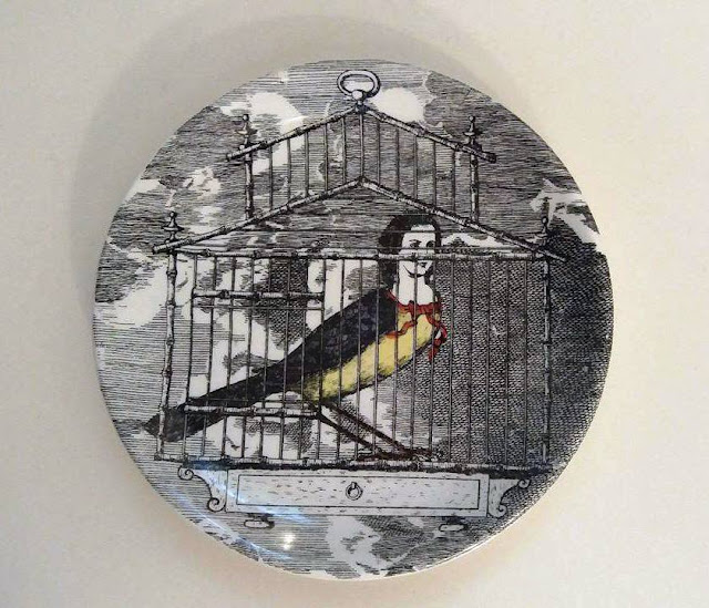 Fornasetti Dish Harpy,  a ravenous, filthy monster having a woman's head and a bird's body