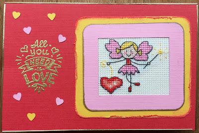 Geborduurd Valentijn elfje / cross stitch Valentine fairy