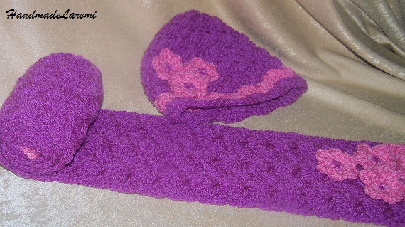 crochet baby hat and scarf purple hand crochet children beanie hat  Crochet Hats And Scarves For Kids