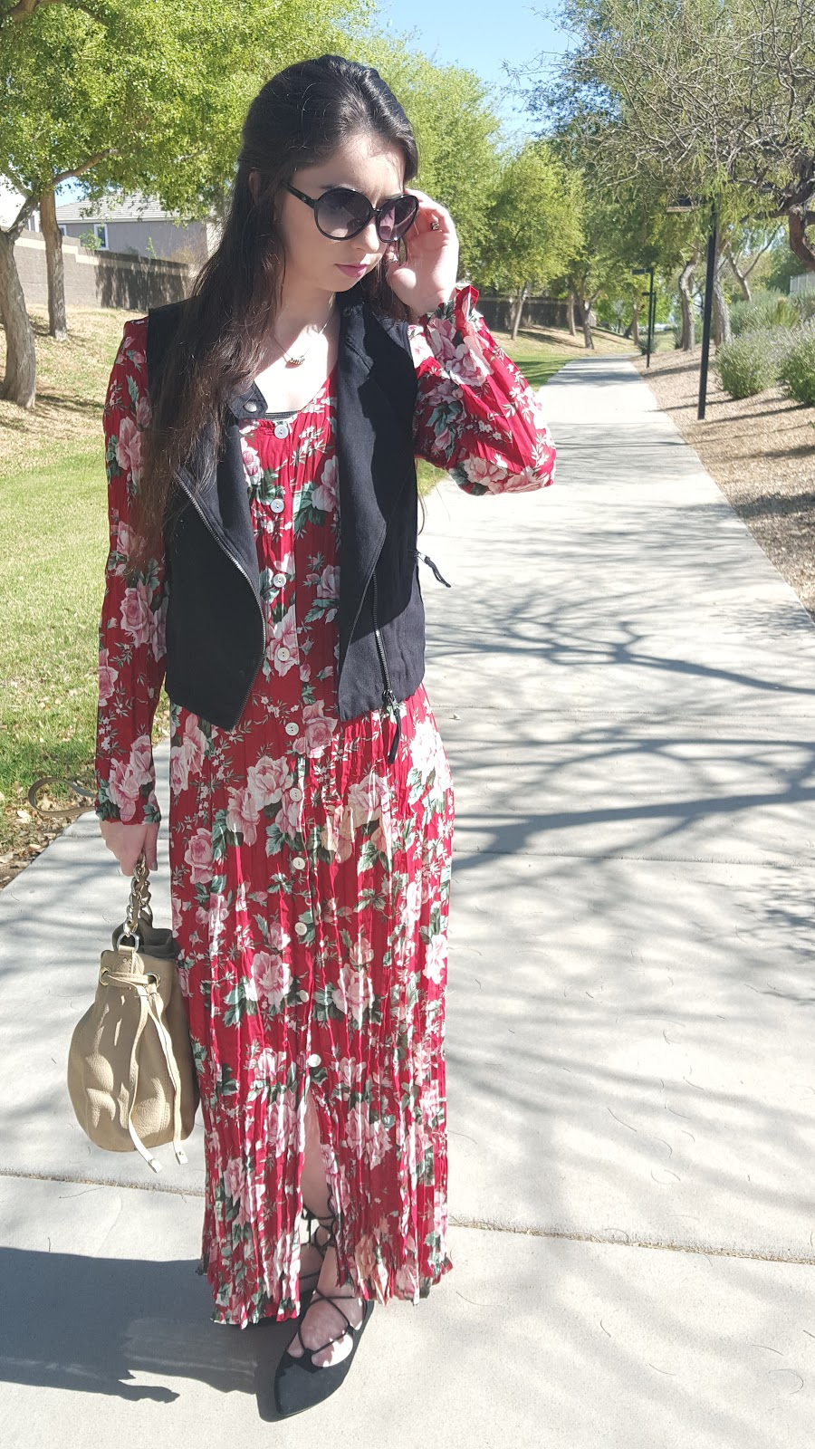 Spring trends 2016- maxi dresses, pleats, floral, lace up flats, and suede