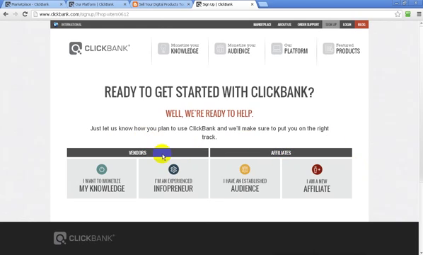 ready to get start clickbank.