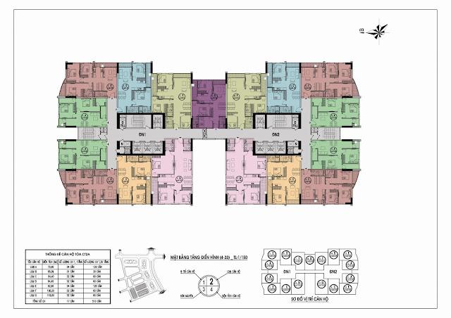Thiết kế mặt bằng tòa CT2 A chung cư Gelexia Riverside