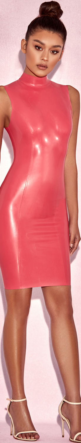 HOUSE OF CB 'LIVANA' BUBBLEGUM PINK HIGH NECK LATEX DRESS