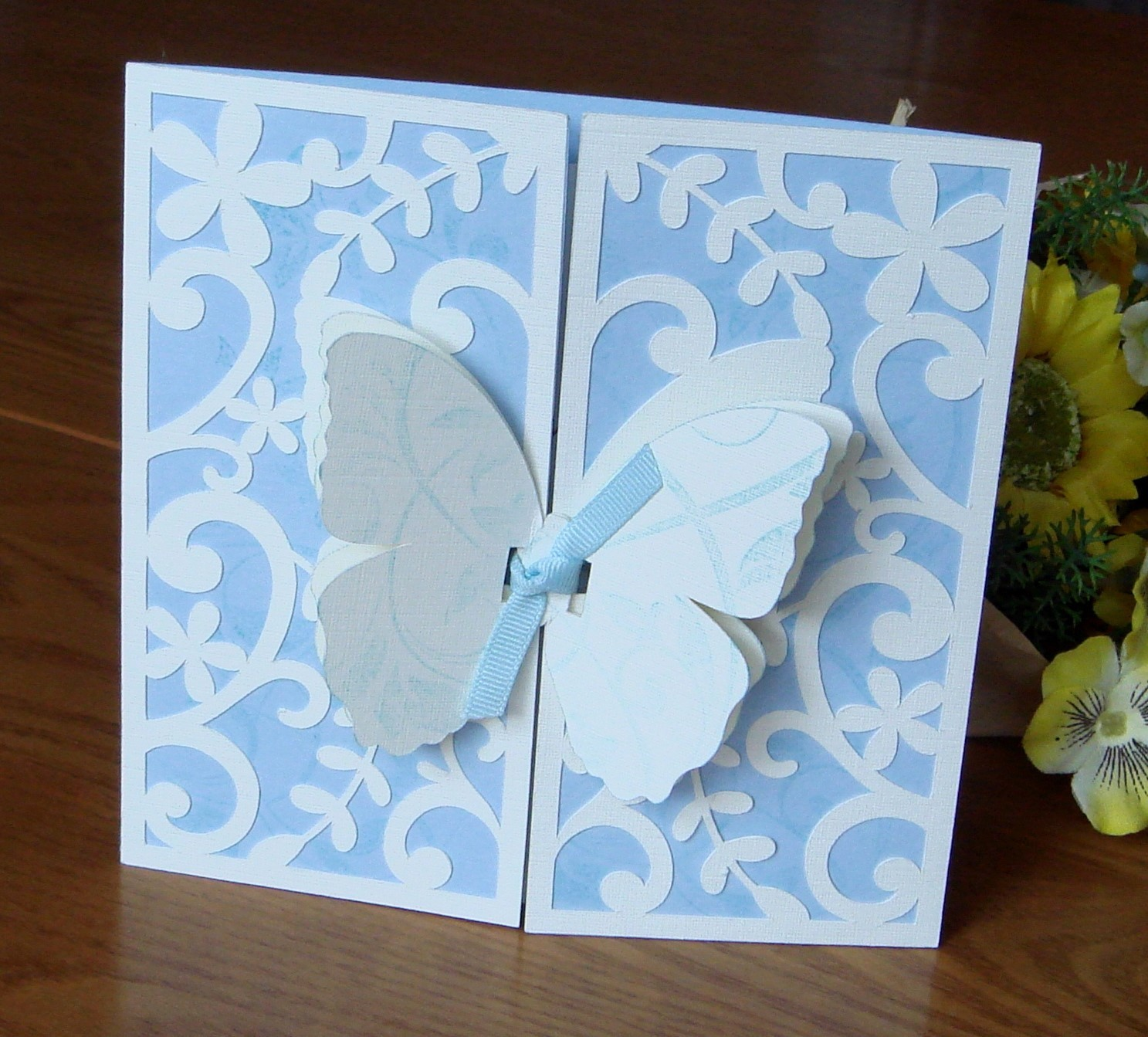 designs for occasions blue and cream gate fold card. Black Bedroom Furniture Sets. Home Design Ideas