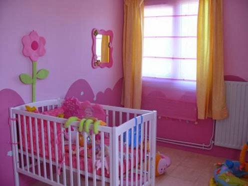 Habitación para bebé color rosa