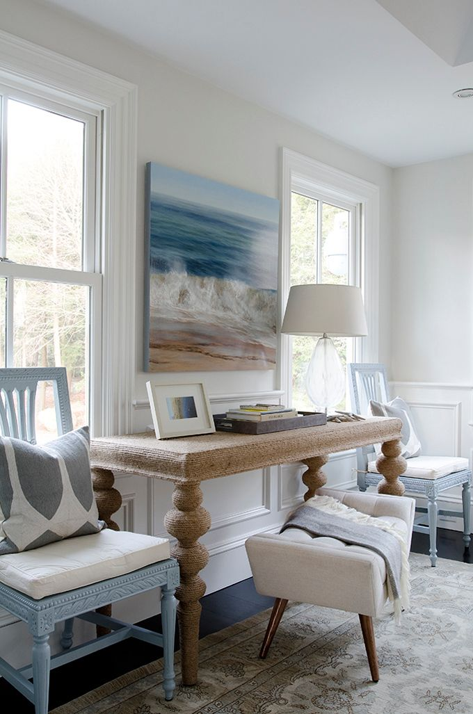 Coastal style classic hamptons style with blue accents for Hamptons beach house interiors