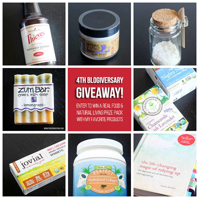 Wow, I can't believe my blog is already 4 years old already! To celebrate, I'm giving away a real food & natural living prize pack with some of my favorite products to one lucky reader. The sweepstakes end October 11th, so hop on over to enter!