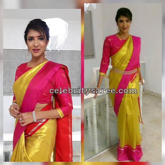 Lakshmi Manchu Neon Green Sari