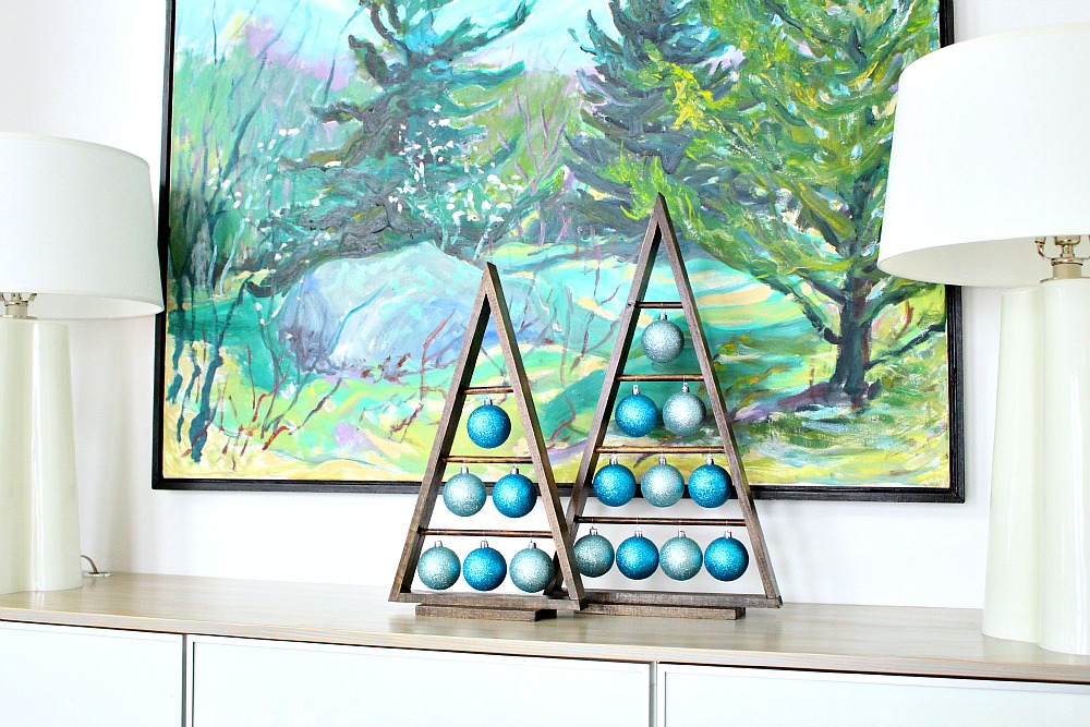 Christmas Ornament Decorations Wooden Tree Display Blue Tree Stand Triangle DIY Wood
