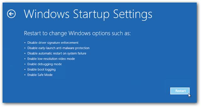 Windows Startup Settings